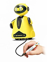 cheap -inductive robot toy for 3 years old and up | draw line with imagination to control robot | with led light | battery and black pen included (yellow)