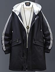cheap -Men's Down Parka Striped POLY White / Black M / L / XL