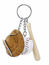 cheap -baseball keychain for boy leather for men including hat and bat (brown)