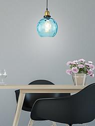 cheap -1-Light Modern Restaurant Blue Glass Pendant Light Bar Bedroom Glass Lamp Diameter 20cm