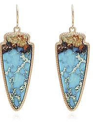cheap -marble effect on recycled wood, arrowhead shape drop statement earrings