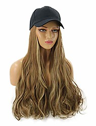 cheap -womens baseball cap with long curly wavy hair synthetic party halloween hat wigs (brown ombre)