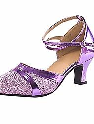 cheap -ladies adult latin dance shoes baotou high school with soft bottom square dance shoes purple