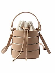 cheap -lace bucket bag for women 2019 mini pu crossbody ladies handbags shoulder bags leather handbags pure color