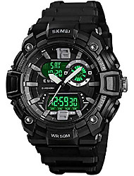 cheap -men sports digital watch large dual dial multifunction 50m water resistant led military army wrist watch (black)