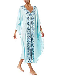 cheap -women's white ethnic print kaftan maxi dress summer beach dress