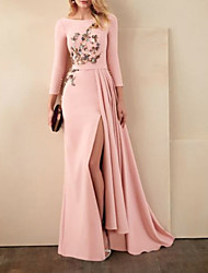 cheap -Mermaid / Trumpet Beautiful Back Sexy Engagement Formal Evening Dress Boat Neck 3/4 Length Sleeve Sweep / Brush Train Satin with Pleats Split Appliques 2021