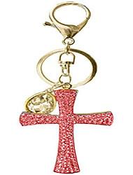 cheap -fashion yellow pineapple rhinestone alloy resin women car or bag keychain (red cross)