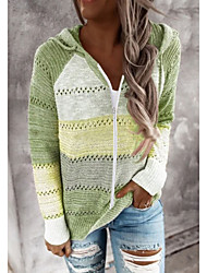cheap -Women's Hollow Out Geometric Pullover Long Sleeve Sweater Cardigans V Neck Fall Winter Black Blue Blushing Pink