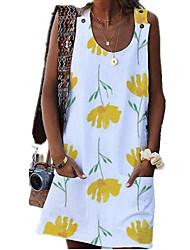 cheap -Women's A Line Dress Short Mini Dress White Sleeveless Floral Print Summer Round Neck Elegant Loose 2021 S M L XL XXL 3XL