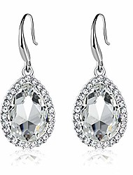 cheap -swarovski crystal teardrop dangle drop earrings for women 14k gold plated hypoallergenic jewelry (white)