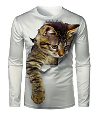 cheap -Men's Graphic 3D Animal T shirt 3D Print Print Long Sleeve Daily Tops Round Neck White