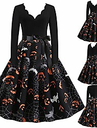 cheap -halloween dresses 2020, women vintage long sleeve print v-neck halloween 50s housewife evening party prom dress for girl (black/g, xl)