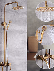 cheap -Shower System Set - Handshower Included pullout Waterfall Vintage Style / Country Antique Brass Mount Outside Ceramic Valve Bath Shower Mixer Taps