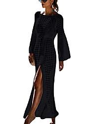 cheap -women's bikini cover-ups crochet beach cover up dress fish net sexy knitted swimsuit cover up long maxi dress (one size, a-black)