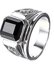 cheap -men's stainless steel black agate stone 18k gold promise ring wedding band,silver black,size 9