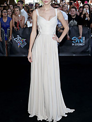 cheap -Sheath / Column Elegant Celebrity Style Prom Formal Evening Dress Spaghetti Strap Sleeveless Floor Length Chiffon Lace with Pleats 2020