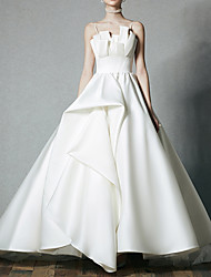 cheap -Ball Gown Wedding Dresses V Neck Sweep / Brush Train Satin Sleeveless Formal with 2021