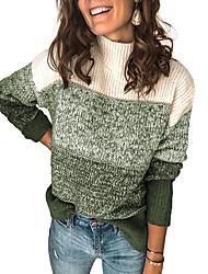 cheap -Women's Stripe Knitted Striped Color Block Pullover Acrylic Fibers Long Sleeve Sweater Cardigans Turtleneck Fall Winter Black Wine Green