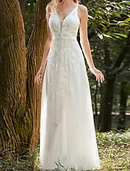 cheap -Sheath / Column Wedding Dresses V Neck Floor Length Lace Tulle Long Sleeve Country Beach with 2021