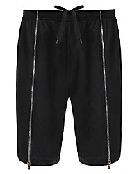 cheap -men's casual gym sport elastic waist with drawstring zipper shorts black
