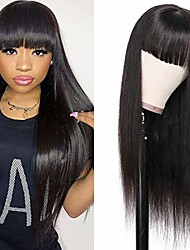 cheap -with bangs straight non-lace wigs brazilian straight   machine made wigs for women natural color
