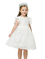 cheap -Kids Toddler Girls' Cute Patchwork Solid Colored Lace Mesh Lace Trims Sleeveless Above Knee Dress White