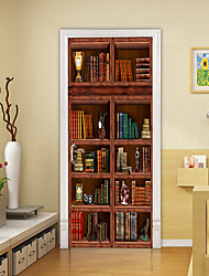 cheap -Self-adhesive Creative Door Stickers Retro Bookcase Living Room Diy Decoration Home Waterproof Wall Stickers