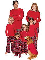 cheap -Family Look Plaid Print Long Sleeve Regular Regular Clothing Set Red