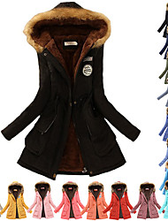 cheap -Women's Hoodie Jacket Fleece Coat Winter Fashion Cotton Padded Parka Thermal Warm Windproof Breathable Wear Resistance Long Trench Coat Top Fur Collar Hooded Jacket Slim Outwear with Pockets