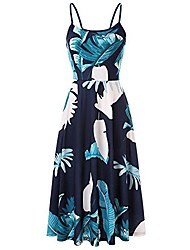 cheap -women's summer backless shoulder straps adjustable casual floral printed flared swing midi dresses (beige, small)