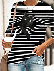 cheap -Women's Tunic Striped Cat Animal Long Sleeve Print Round Neck Tops Basic Basic Top Black Blue Yellow
