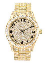 cheap -mens bling-ed out flooded diamond watch with iced out metal band and simulated lab diamonds - inspired by hip hop fashion - quartz movement
