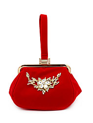 cheap -Women's Bags Polyester Alloy Evening Bag Crystals Flower Floral Print Rhinestone Wedding Bags Wedding Party Black Red