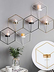 cheap -1pc metal wall candle holder,3d geometric candlestick metal wall candle holder sconce home decor nordic style,living room coffee bar wall decoration,white