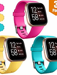 cheap -compatible with fitbit versa/fitbit versa lite se/fitbit versa 2 bands for women men large, 3 pack sports replacement wristband strap for fitbit versa smart watch, rose pink/mango yellow/teal