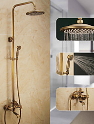 cheap -Shower System Set,Rustic Nickel Pull Out Waterfall Vintage Style,Brass Shower SystemMount Outside withRain Shower/Shower Arm/Handshower/Bodysprays/Drain