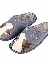 cheap -cute animal house slippers for women fuzzy squirrel home shoes waterproof sole indoor slippers, navy, 4-5.5 women / 2.5-4 men