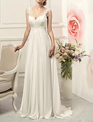 cheap -Sheath / Column Wedding Dresses V Neck Sweep / Brush Train Chiffon Lace Sleeveless Vintage with Appliques 2021