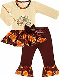 cheap -boutique little girls thanskgiving's day floral turkey drop waist skirt set ivory/brown 10-12/5xl