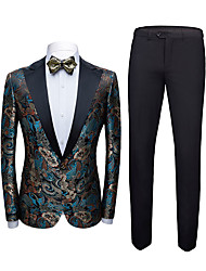 cheap -Tuxedos Tailored Fit Peak Single Breasted One-button Polyester Jacquard / British / Fashion