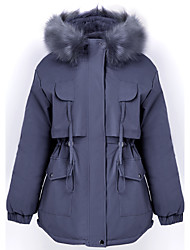 cheap -Women's Parka Regular Coat Loose Jacket Solid Colored Blue Beige