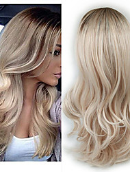 cheap -Synthetic Wig Curly Wavy With Bangs Wig Long Light golden Light Blonde Flaxen Light Brown Dark Brown Synthetic Hair Women's Fashionable Design Party Fluffy Blonde