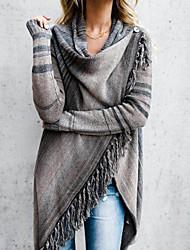 cheap -Women's Stylish Stripe Knitted Striped Cardigan Long Sleeve Sweater Cardigans Cowl Fall Winter Black Yellow Orange