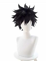 cheap -kadiya short black fluffy boy male halloween hero role play cosplay wig anime performance costume wigs(not styled)