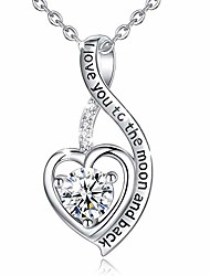 """cheap -heart sterling silver necklace for women  cz heart pendant i love you to the moon and back necklaces, birthday gifts - 18"""" chain"""