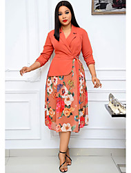 cheap -Women's Sheath Dress Knee Length Dress - Long Sleeve Floral Lace up Print Fall V Neck Casual Loose 2020 Orange S M L XL XXL 3XL