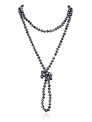 """cheap -hand knotted beads endless long statement necklace - handmade versatile beaded strand lariat multi layer infinity wrap 60"""" sparkly faceted crystal rondelle, faux pearl (hematite)"""