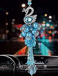 cheap -handmade crystal bead decorative glass swan car pendant hanging ornament car interior accessories mirror decoration (blue)