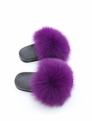 cheap -kids fur slides furry home slippers fluffy slides indoor summer flat sandals flip flops luxury girls shoes size 24-35,purple,12.5